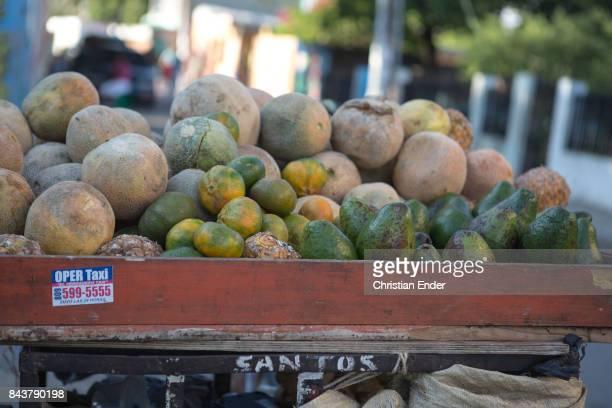 Santa Domingo Dominican Republic November 30 2012 A trolley with avocados and melons in the poor neighbourhood 'Los Alcarrizos' in Santa Domingo