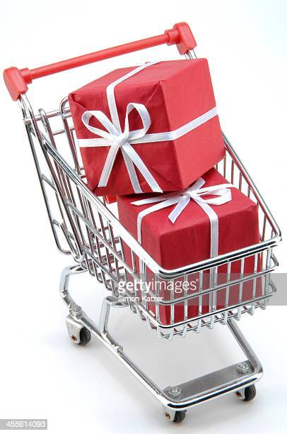 Trolley with red presents