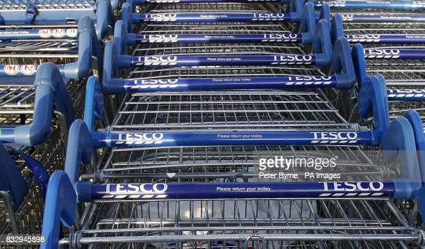 Trolleys at a Tesco superstore in Woolton Liverpool