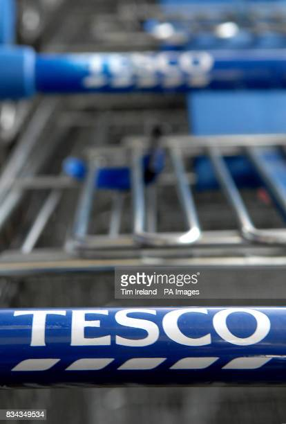 Trolleys outside the Tesco store on Old Kent Road London as the grocery chain announced an 118% hike in annual profits today