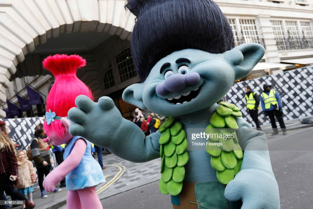 Trolls Poppy and Branch raised some hair and thousands of smiles today as they featured in the annual Hamleys Christmas Toy Parade in LondonÕs Regent Street. They were joined by over 300 childrenÕs characters, entertainers, elves, bands, floats and flying balloons and an estimated 800,000 festive revellers. It is now the largest single gathering of toy characters anywhere in the world at Regent Street on November 19, 2017 in London, England.