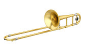 Trombone isolated on white background. 3D render
