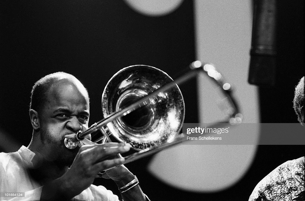 Trombone player Craig Harris performs live on stage at Meervaart in Amsterdam, Netherlands on October 27 1984