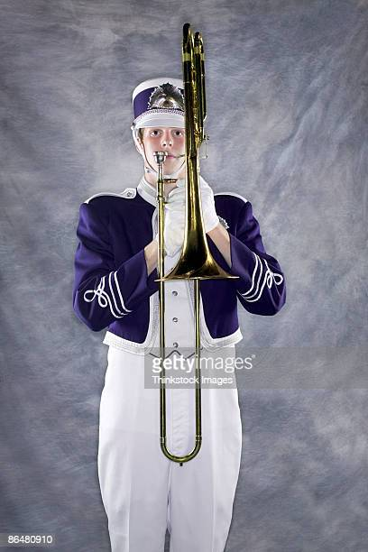 Trombone player in marching band