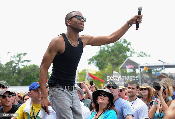 Trombone Shorty Orleans Avenue performs during the 2012 New Orleans Jazz Heritage Festival Day 3 at the Fair Grounds Race Course on April 29 2012 in...