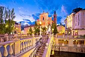 Tromostovje bridge and square evening view, Ljubljana, capital of Slovenia