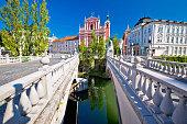 Tromostovje square and bridges of Ljubljana, capital of Slovenia
