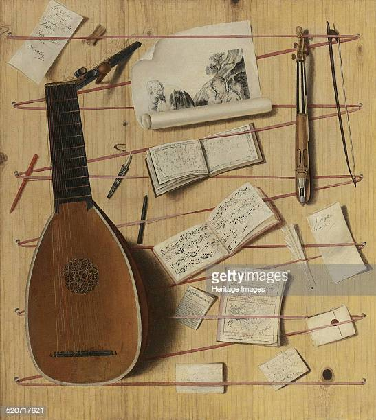 Trompe l'oeil still life with a lute rebec and music sheets Private Collection