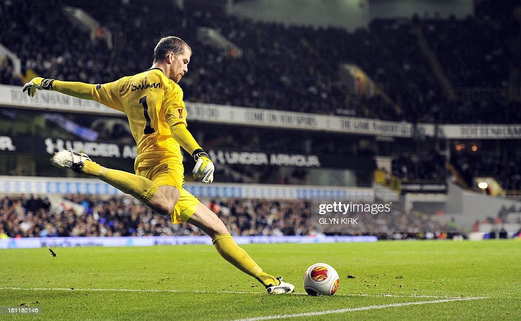 Tromso's Swedish goalkeeper Marcus Sahlman takes a goal-kick during the UEFA Europa League group K football match between Tottenham Hotspur and Tromso at White Hart Lane, London, on September 19, 2013. Tottenham won 3-0.