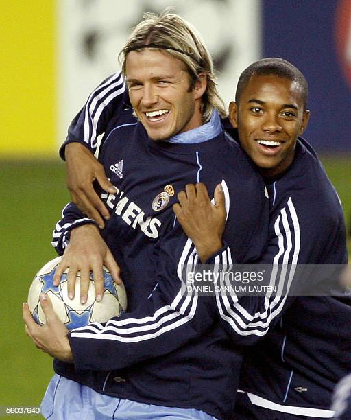 Real Madrid's English player David Beckham and Brazilian player Robinho participate in a training session 31 Oktober 2005 at the Lerkendal stadium in...