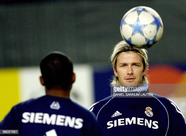 Real Madrid's English player David Beckham and Brazilian player Robinho participate in a training session 31 October 2005 at the Lerkendal stadium in...