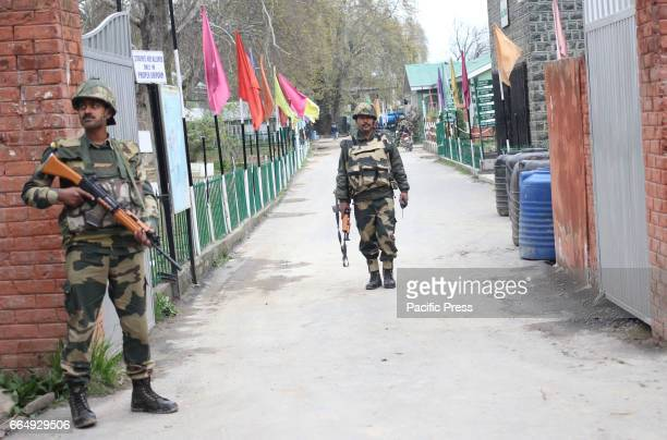 BSF trooper coming out from Government Higher Secondary School in Srinagar Indian Controlled Kashmir on Wednesday April 05 2017 The additional force...
