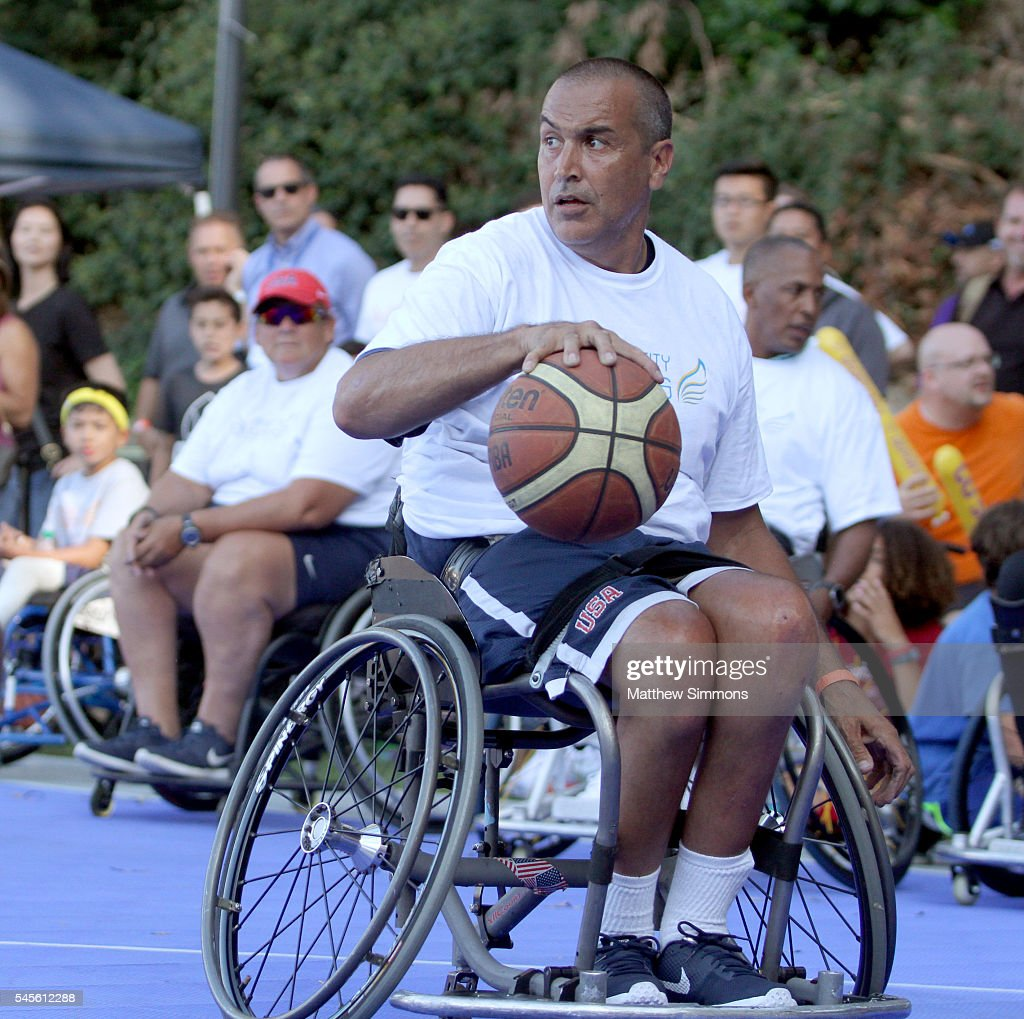 Trooper Johnson plays in a celebrity wheelchair basketball game during the 2nd Annual Angel City Games at UCLA's Drake Stadium on July 8 2016 in...