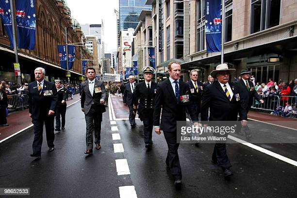 Trooper Mark Donaldson VC and RSL NSW President Don Rowe march during the ANZAC Day Parade in the Sydney CBD on April 25 2010 in Sydney Australia...