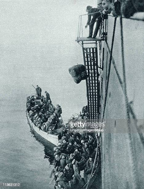 UNSPECIFIED Troops and stores being landed in Gallipoli from a British ship during World War I From The Illustrated War News 1915