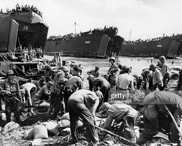 US troops arriving on the island of Leyte in the Philippines during war in the Pacific