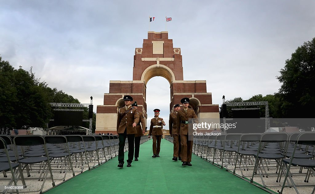 Troops finish an all-night vigil at Thiepval Memorial to the Missing of the Somme during Somme Centenary Commemorations on July 1, 2016 in Thiepval, France. Today marks exactly 100 years since the beginning of the battle of the Somme.