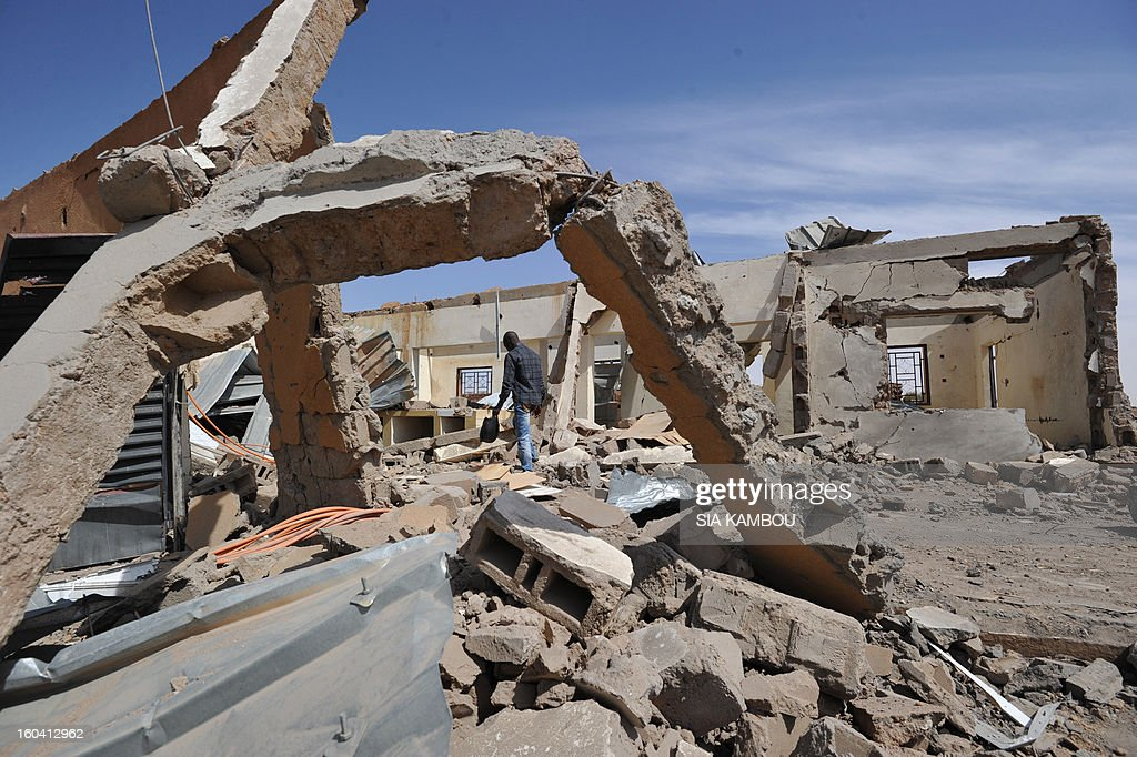 Troops from Niger and Mali on January 29, 2013 entered the town of Ansongo which along with Gao was recaptured by French-led soldiers over the weekend in a lightning offensive against radicals holding Mali's north. Photo shows a building destroyed by French aerial bombing.