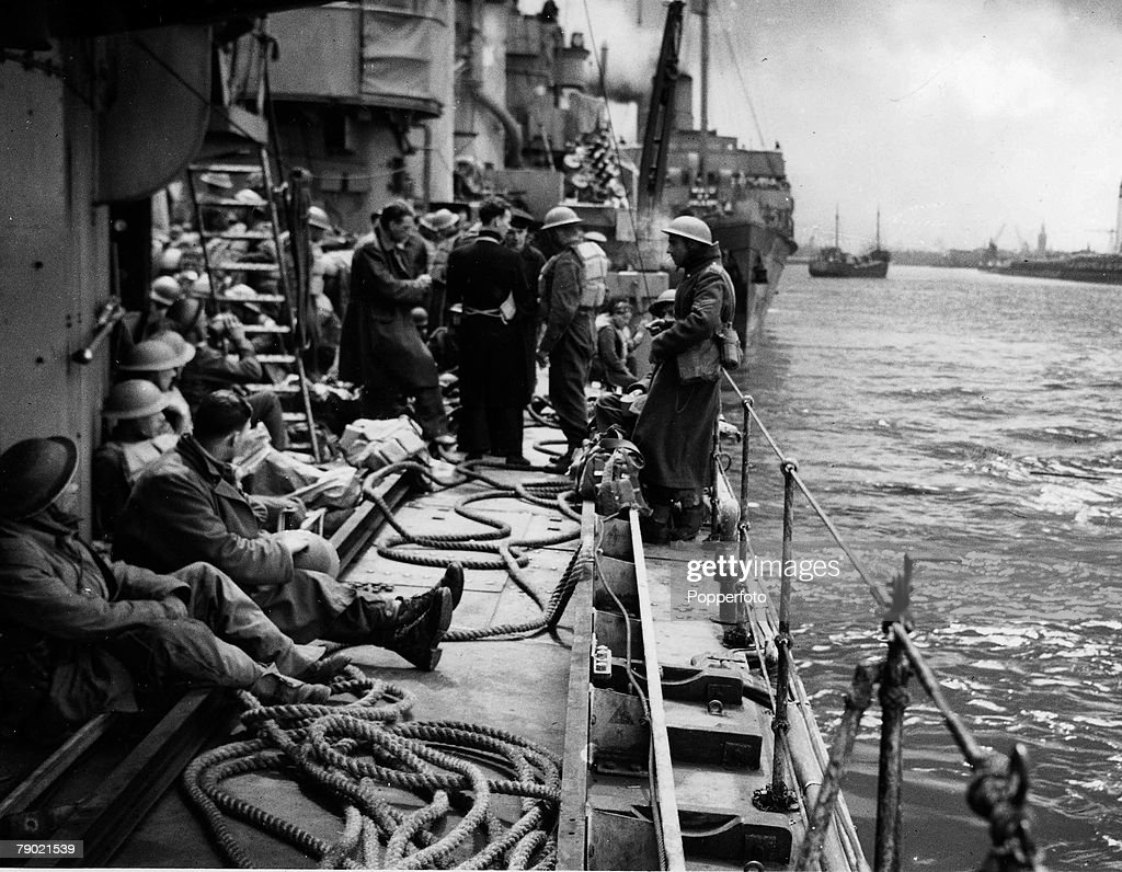 World War II, Troops aboard a naval vessel in the B,E,F, evacuation to England from Dunkirk in Northern France, 1940