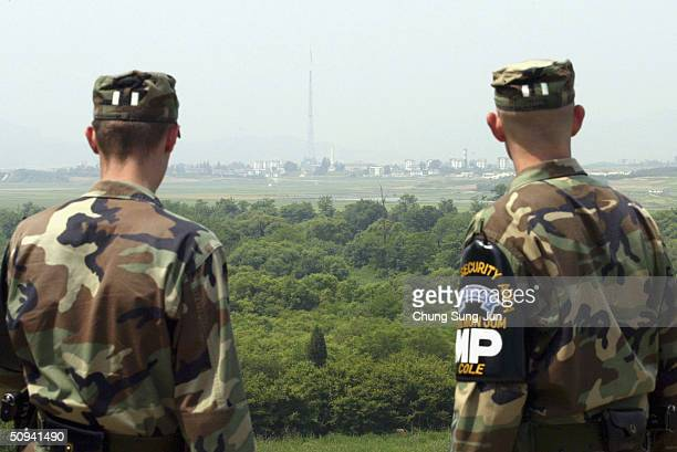 US troops look overto North Korea at the border village of Panmunjom in the demilitarized zone between the two Koreas on June 9 2004 in Panmunjom...
