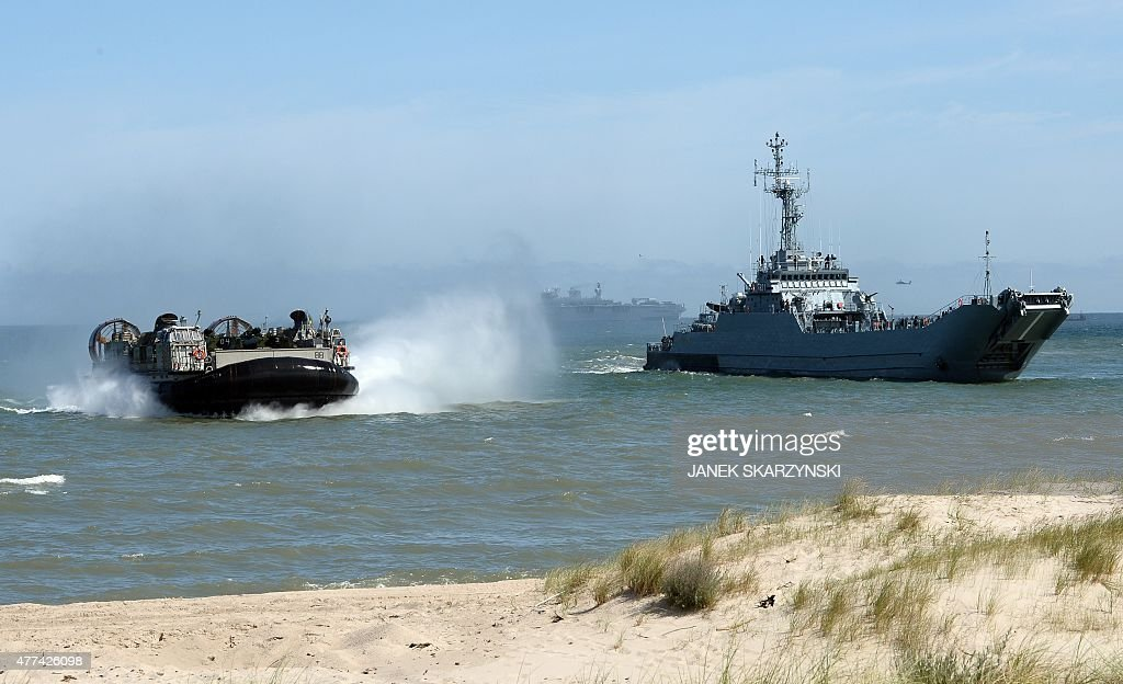 NATO troops make a massive amphibious landing off the coast of Ustka northern Poland during NATO military sea exercises BALTOPS 2015 in the Baltic...