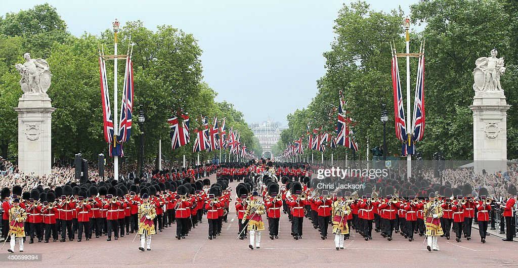 Troops march down the Mall during Trooping the Colour - Queen Elizabeth II's Birthday Parade, at The Royal Horseguards on June 14, 2014 in London, England.