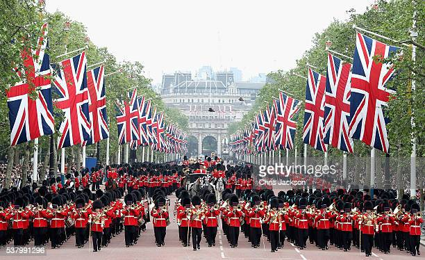 Troops march during the Colonel's Review a traditional rehearsal for next week's Trooping the Colour on June 4 2016 in London England
