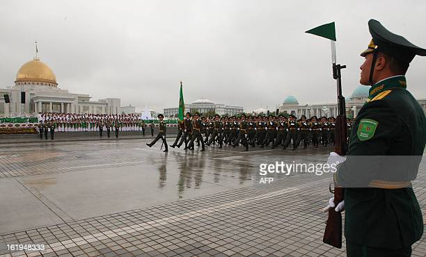 Troops march in theTurkmen capital Ashgabat on October 27 during a military parade marking the 20th anniversary of the desert nation's independence...