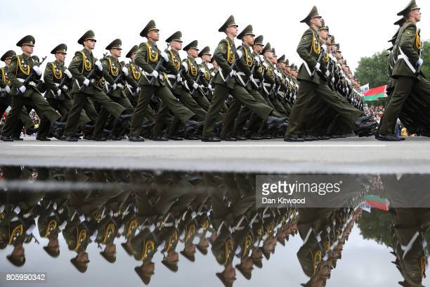 Troops march past Belarusian President Alexsander Lukashenka on July 3 2017 in Minsk Belarus The parade included around 6000 military personnel 500...