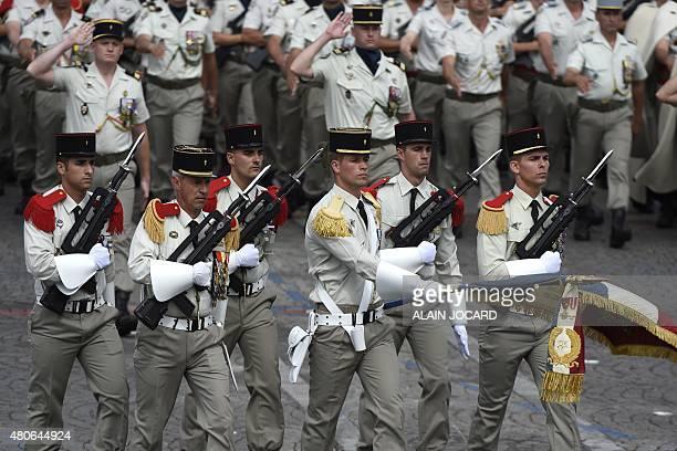 Troops of the 1er regiment d'infanterie de la garde republicaine march during the annual Bastille Day military parade in Paris on July 14 2015 AFP...