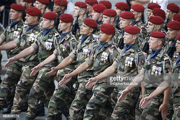 Troops of the Barkhane unit take part in the annual Bastille Day military parade on July 14 2015 in Paris AFP PHOTO / THOMAS SAMSON