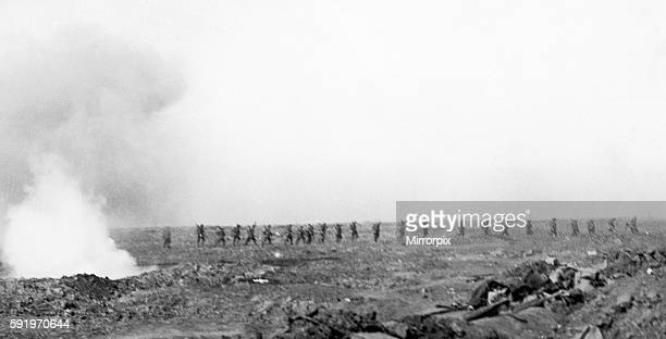 Troops of the British Fourth Army seen here advancing through noman's land during their advance on Morval 25th September 1916