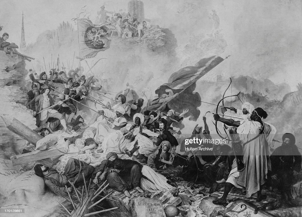 Troops of the Ottoman Empire attack the Löbel or Löwel bastion during the Seige Of Vienna or Battle of Vienna Austria September 1683 'Der Sturm der...
