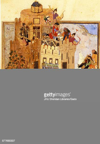 Troops of Timur attacking the city of Khiva from Zafarnama or Book of Victory the biography of Timur known to the English world as Tamerlane the text...