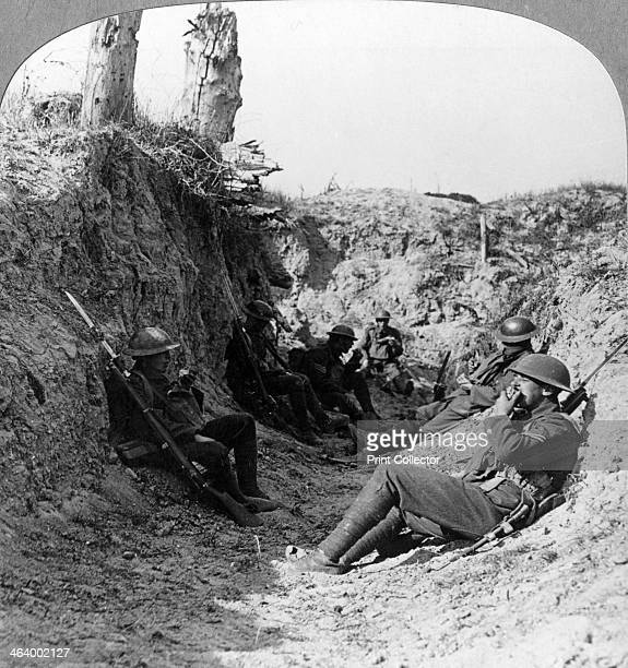 Troops waiting in a trench near Arras France World War I c1914c1918 British Army soldiers waiting for a creeping artillery barrage to lift...