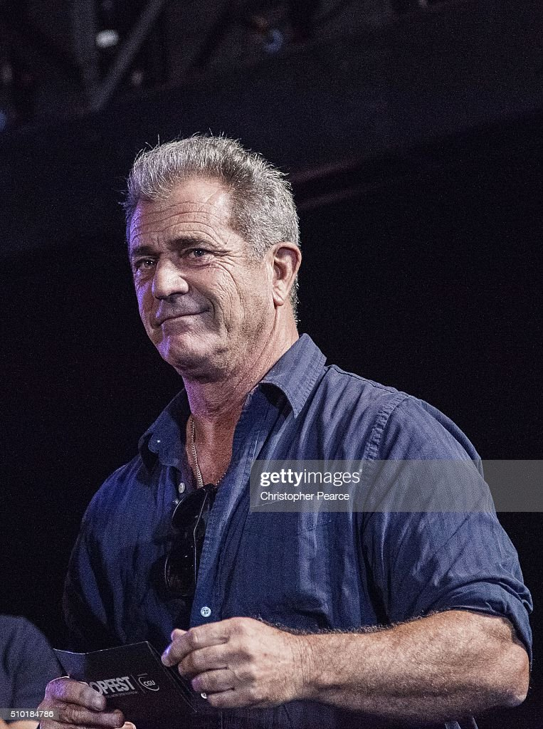 Tropfest judge Mel Gibson on stage at Centennial Park on February 14, 2016 in Sydney, Australia.