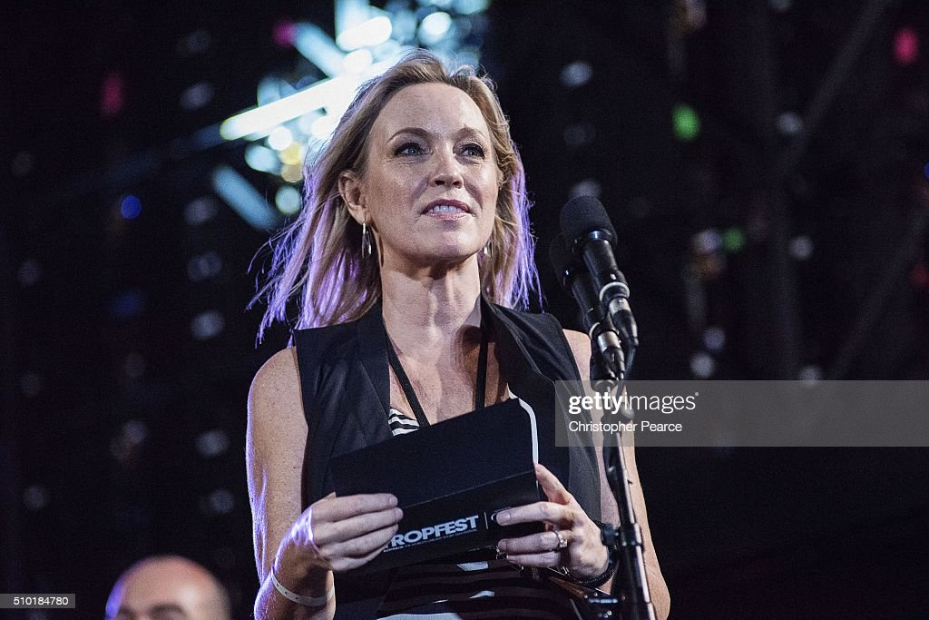 Tropfest judge Rebecca Gibney on stage at Centennial Park on February 14, 2016 in Sydney, Australia.