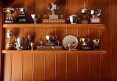 Trophies Lined Up On Display Shelf