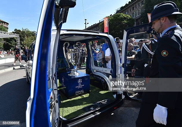 Trophy arrives from Nissan trophy Van during the Champions Festival opening at Stadio Giuseppe Meazza on May 26 2016 in Milan Italy