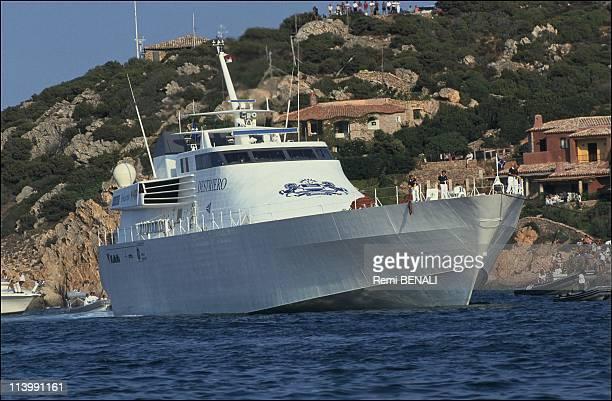 Trophy blue ribbon boat 'Destriero' of Karim Agha Khan In Porto Cervo Italy On September 25 1991Destriero in the port of Porto Cervo