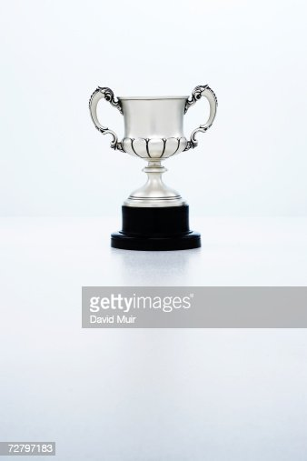 trophy cup in studio, white background