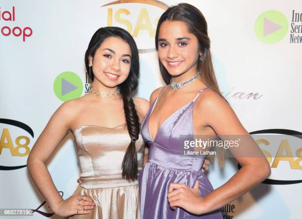 Trophy Girls Laura Krystine and Brisa Lalich arrive at the 8th Annual Indie Series Awards at The Colony Theater on April 5 2017 in Burbank California