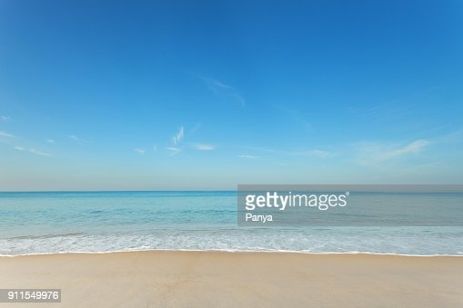 Tropical andaman seascape scenic off mai khao beach and wave crashing on sandy shore in phuket thailand,can be used for air transport to travel and open season to travel background. : Stock Photo