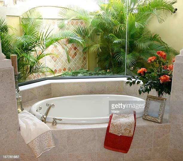 トロピカルな庭園の眺めをもつバスルーム