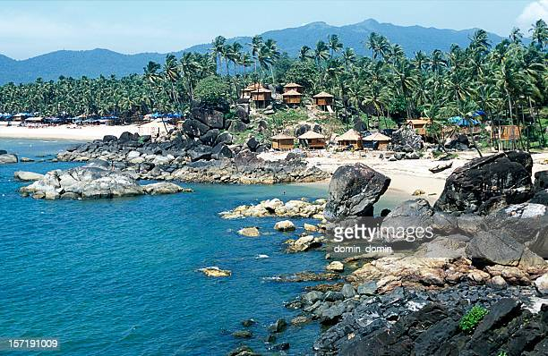 Tropical bay, Palolem beach, bamboo huts, palm trees, Goa, India