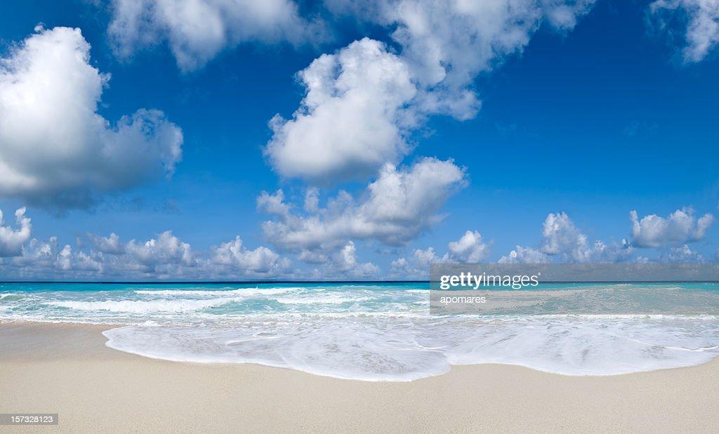 Tropical Beach and cloudy deep blue sky : Stock Photo