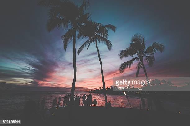 トロピカルビーチと海の夕日、カウアイ島(ハワイ州)