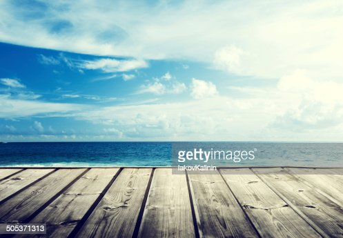 tropical beach and wooden platform : Stock Photo