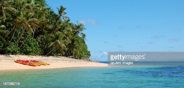 Tropical Beach Island Kayaking : Stock Photo