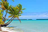 Tropical beach, blue lagoon, French Polynesia